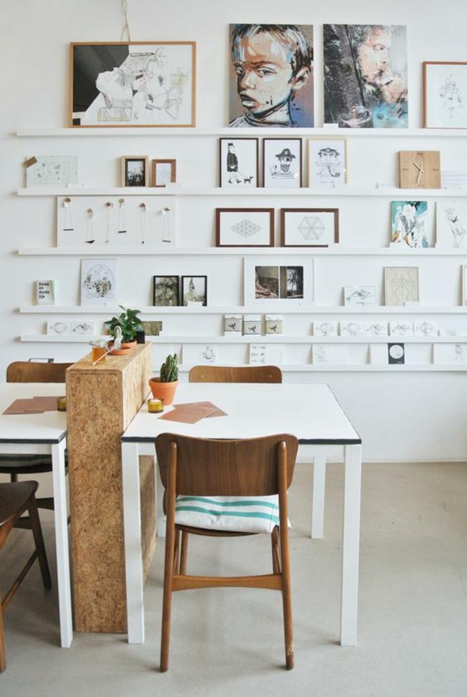 Ideen für Fotowand Bilderleisten Wand dekorieren