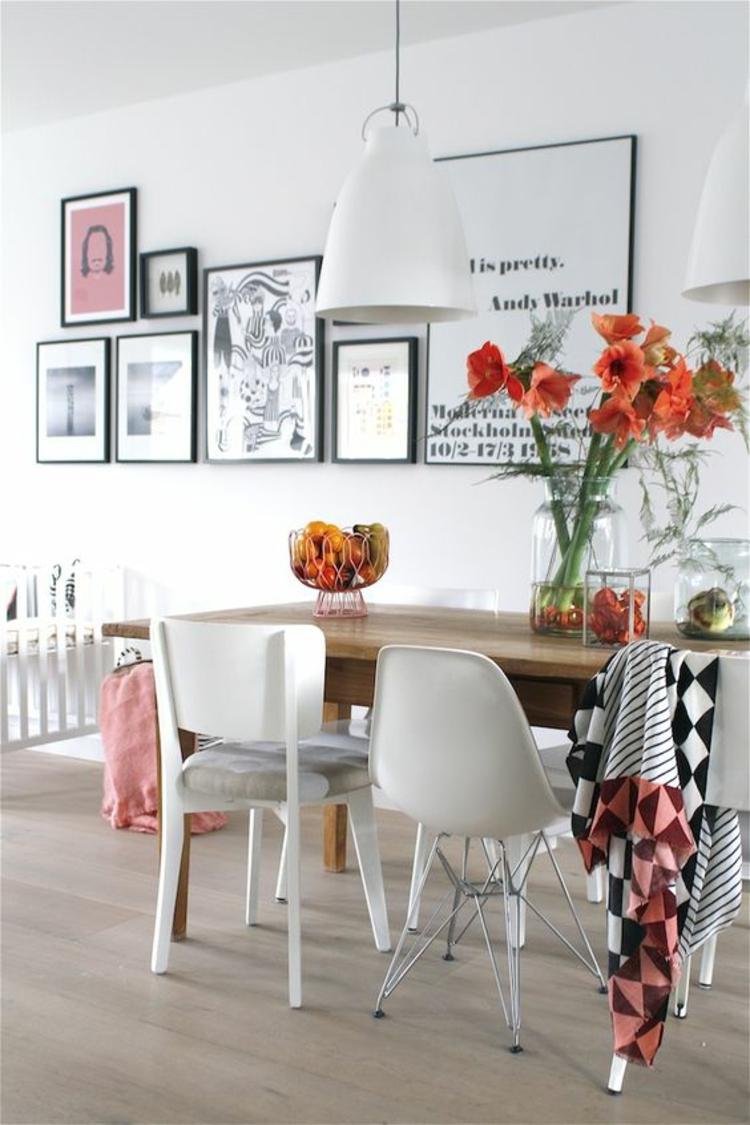 Ideen für Fotowand Esszimmer Wand dekorieren Beispiele