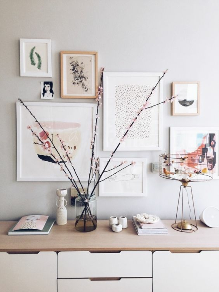 Ideen für Fotowand Wohnzimmer Wand kreative Wandgestaltung