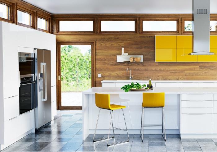 Küchenplanung Ikea Küchen creme baige hell gelbe stühle