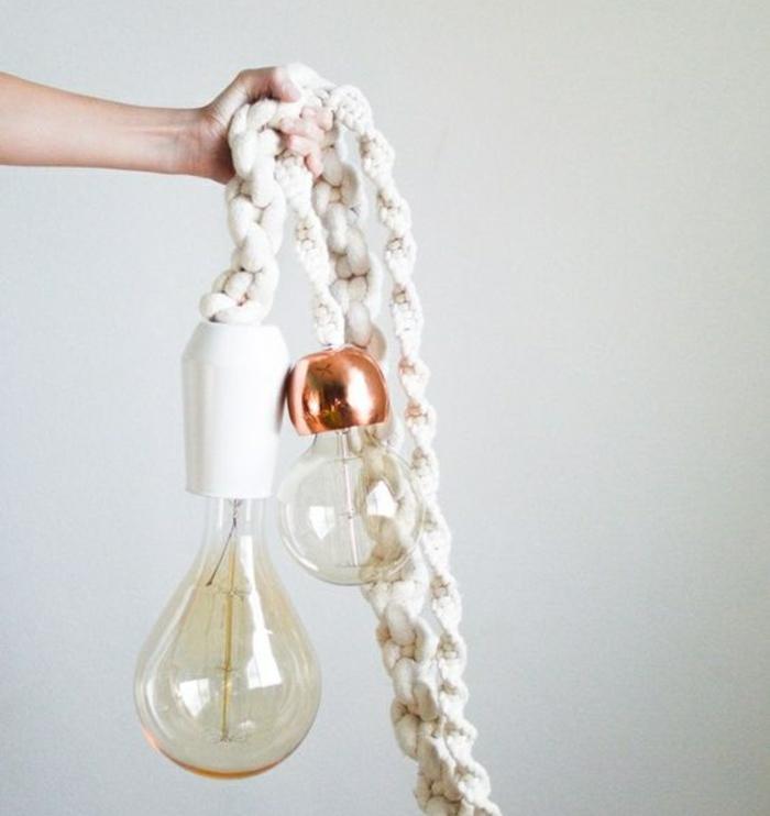 Lampen selber machen DIY Lampen Seil gestrickt