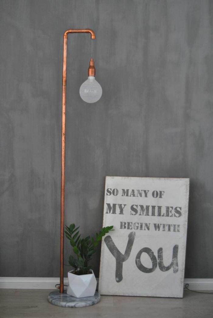 Lampen selber machen DIY Lampen Stehlampe Messing Röhren