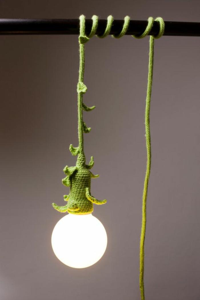 Lampen selber machen DIY Lampen gestrickte Kabelhülle