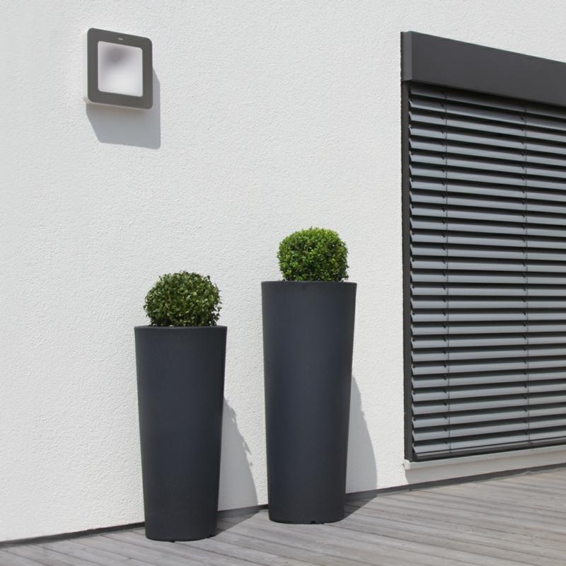 Pflanzkübel Fiberglas anthrazit Gartenpflanzen Balkonpflanzen