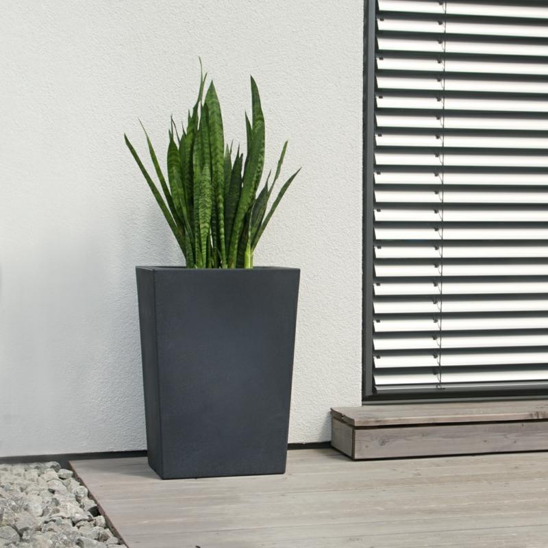 Pflanzkübel Fiberglas anthrazit Bogenhanf Balkonpflanzen