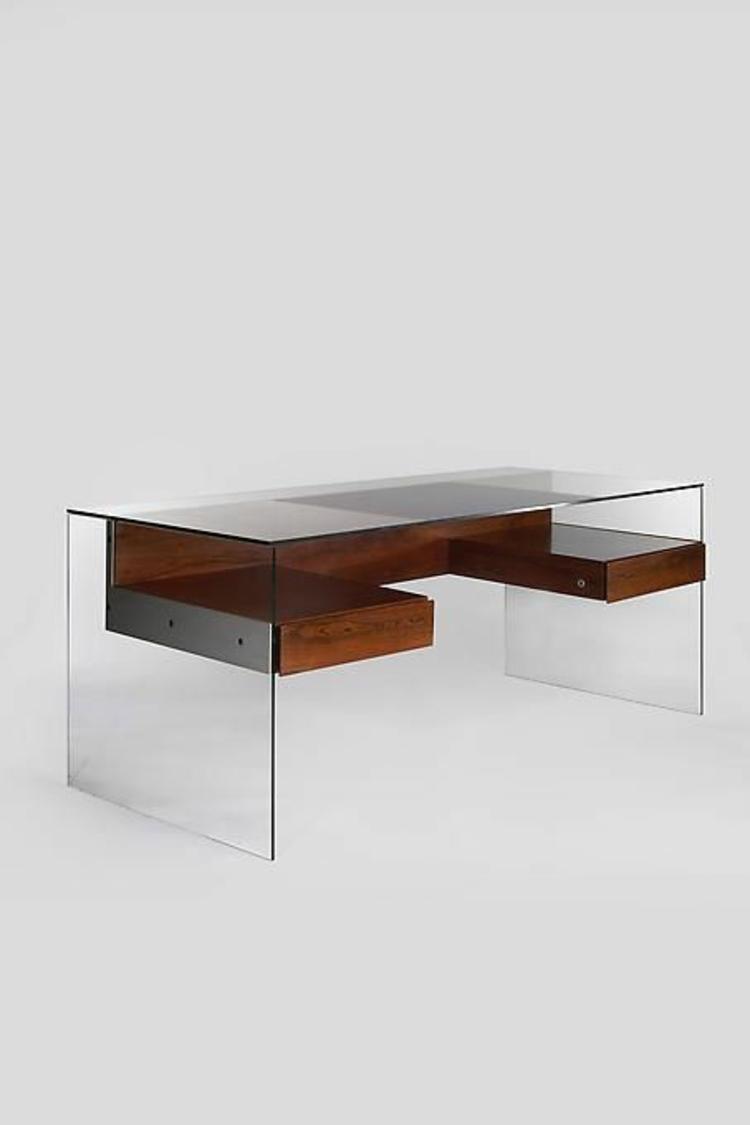 Schreibtisch Glas Holz Glasschreibtisch Home Office einrichten