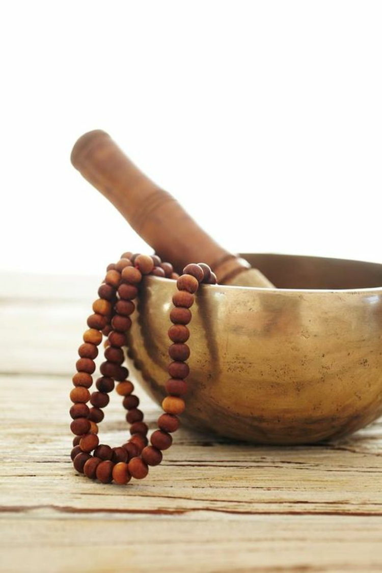 Tibetische Klangschalen Bronze Klöppel Holz