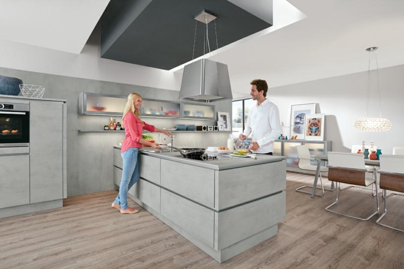 aktuelle Küchengestaltung Küchentrends Kücheninsel aus Beton