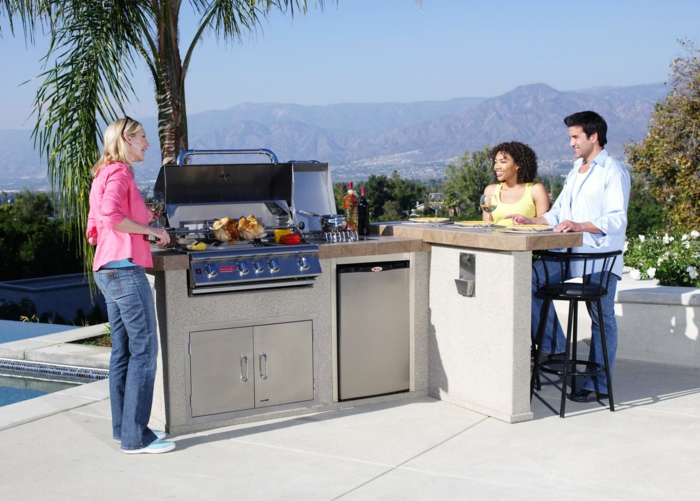 außenküche selber bauen kücheneinrichtung eingebaute küchengeräte grill ofen kühlschrank