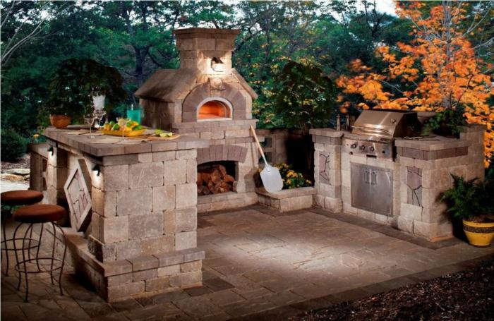 Barhocker Holz Selber Bauen ~   selber bauen landhausstil natursteine kamin brennholz barhocker