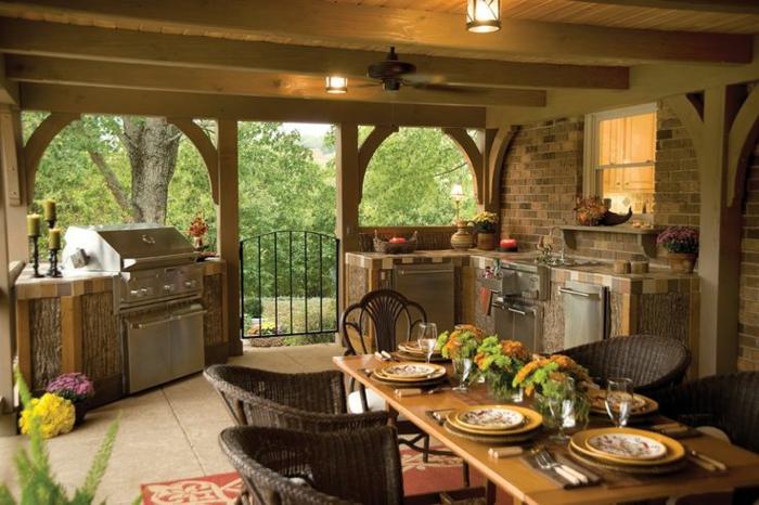 außenküche selber bauen landhausstil rattanstühle küchengeräte eingebaut