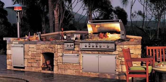 außenküche selber bauen naturstein diy ideen grill eingebaute küchengeräte