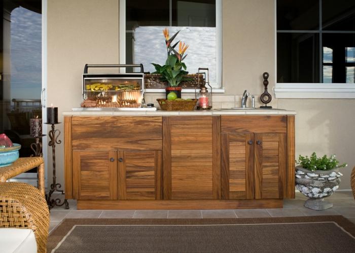 außenküche selber bauen teakholz küchenschränke