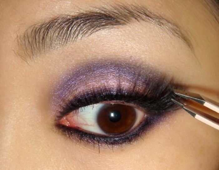 augen schminken anleitung lila schminktipps