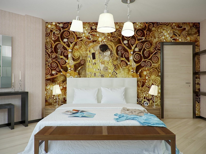 ausgefallene tapeten schlafzimmer wände gestalten ideen