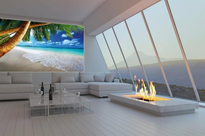 ausgefallene tapeten strand offene feuerstelle panoramafenster