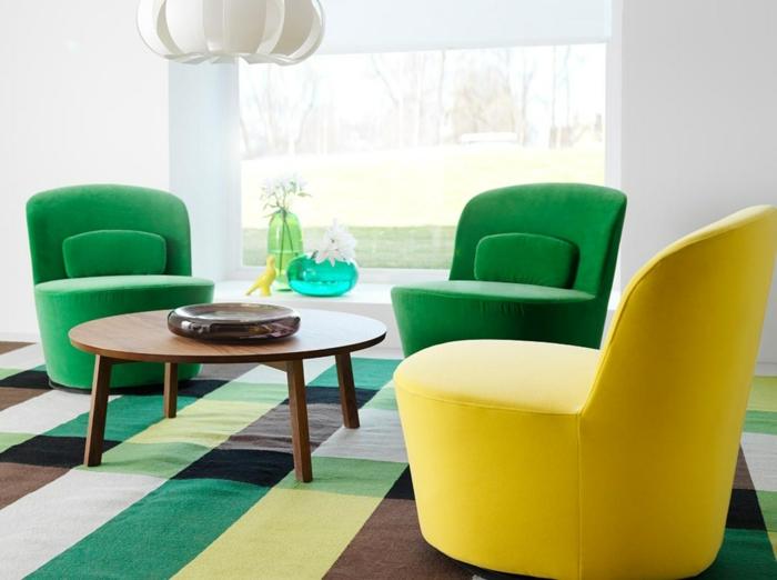 bequeme sessel farbige designs gelb grüne krasse farbtöne