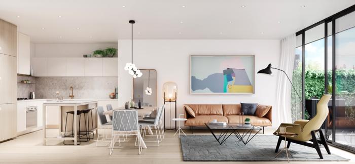 bequeme sessel offener wohnplan retro elemente wohnbereich grauer teppich