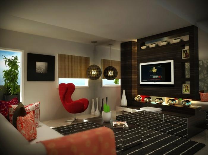 bequeme sessel roter sessel wohnzimmer einrichten eleganter teppich