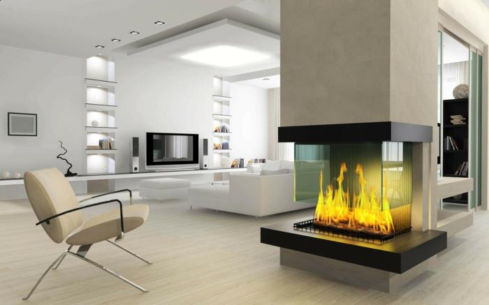 bequeme sessel wohnzimmer einrichten moderne feuerstelle erholungsecke