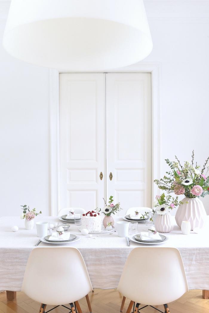 blumen tischdeko dekoideen essbereich dekorieren weißes ambiente