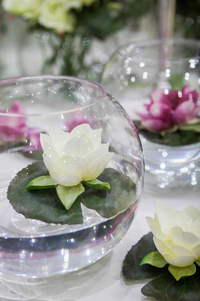 blumen tischdeko lilien wasser frische dekoideen