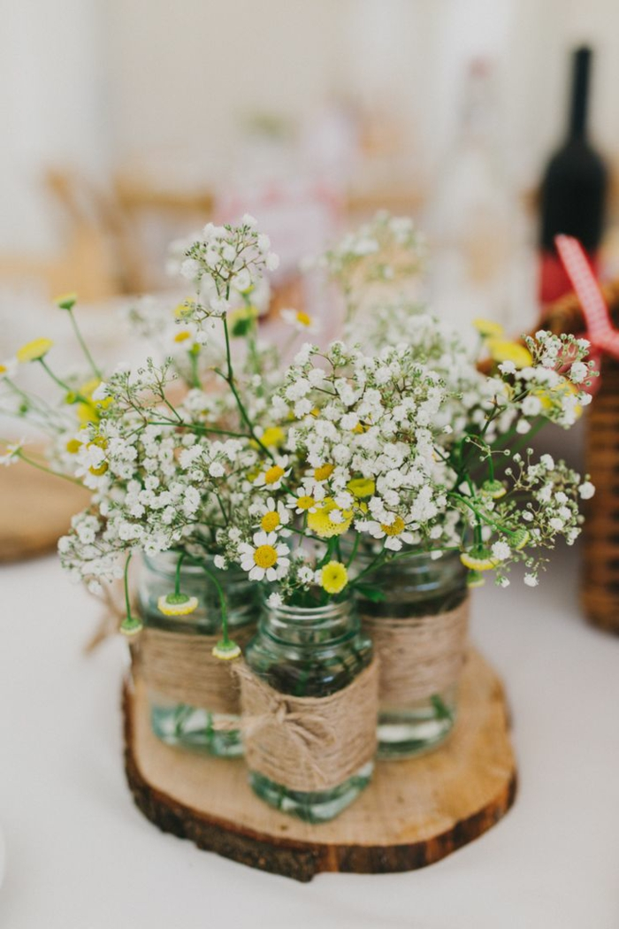 Table Decoration Vase Hessian Sticks