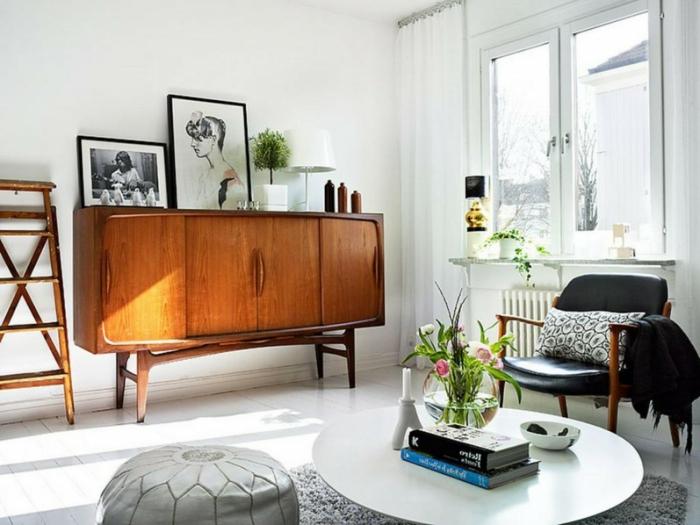 blumen tischdeko wohnzimmer retro kommode