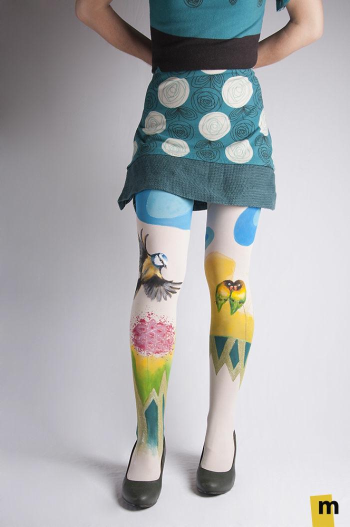 bodypainting moderne art kunst strumpfhosen ideen vögel blumen