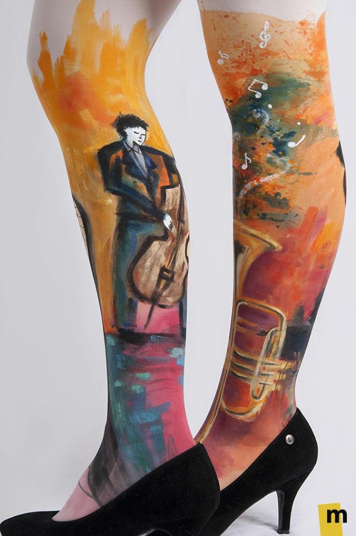 bodypainting strumpfhosen art hand gemacht musiker motiv