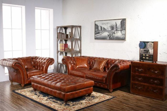 chesterfield sessel echtleder braun designer möbel wohnzimmer einrichten