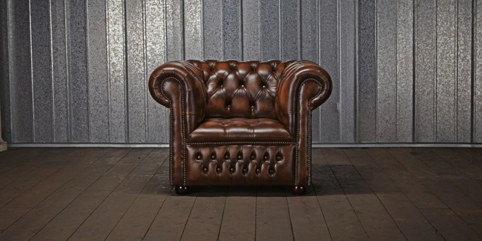 chesterfield sessel echtleder braun klassiker designer möbel