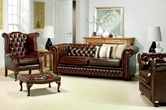 chesterfield sessel echtleder braun moca farbe designklassiker couch ottomane fußhocker