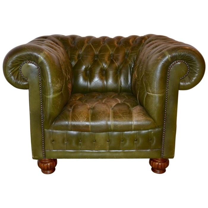 chesterfield sessel echtleder grün kleines model designer möbel