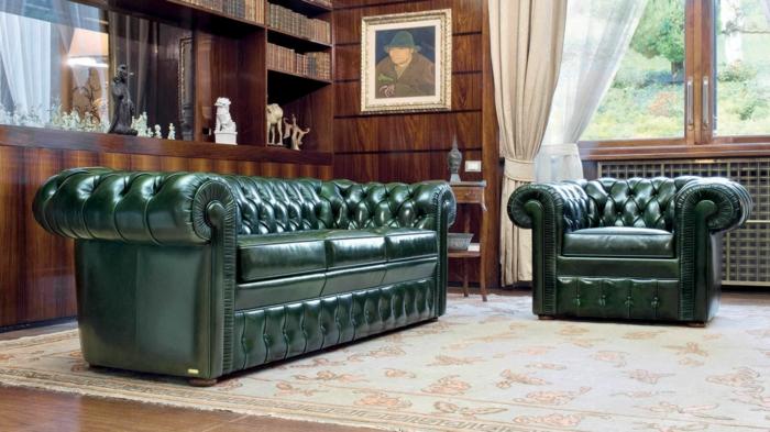 chesterfield sessel echtleder grün wohnzimmer einrichten luxus stil