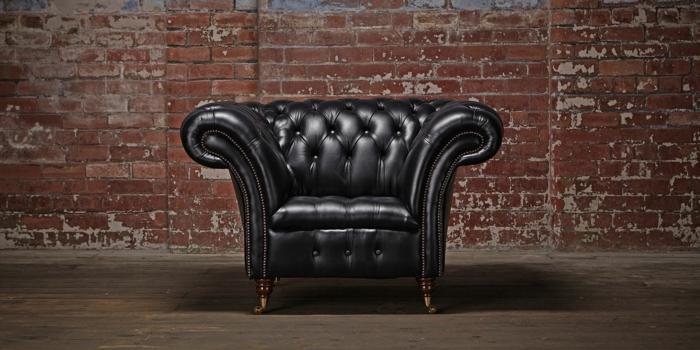 chesterfield sessel echtleder-schwarz cliveden model klassiker designer möbel