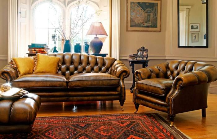 chesterfield sessel echtleder sofa ottomane braun wohnzimmereinrichtung gentlemansgazette