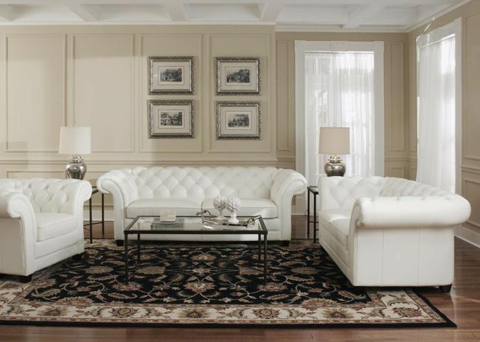 chesterfield sessel echtleder weiß sofa couchtisch glas metall perserteppich
