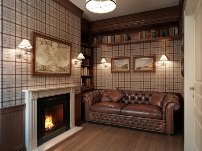 chesterfield sofa braun klassisch kamin gemütlich