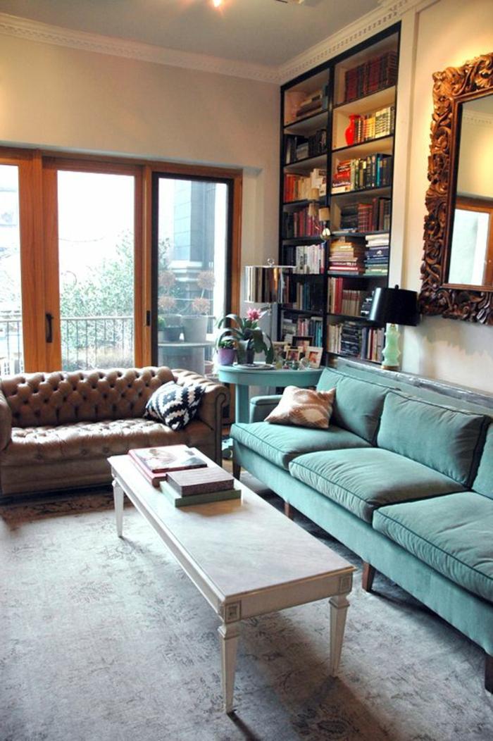 wohnzimmer chesterfield:chesterfield sofa hellgrünes sofa hellgrauer teppich wohnideen
