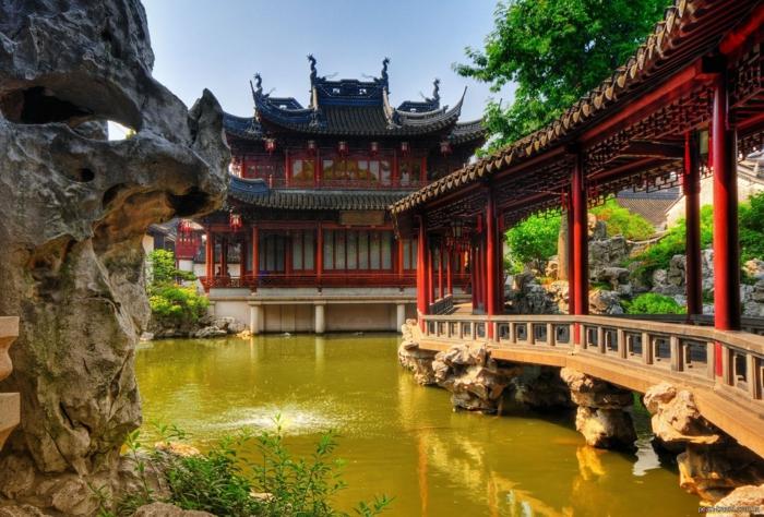 chinesischer garten gartensee brücke pavillion