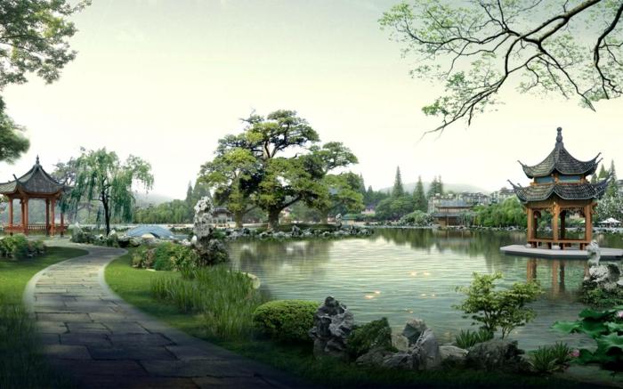 chinesischer garten pavillion gartenteich parkanlage gartengestaltung