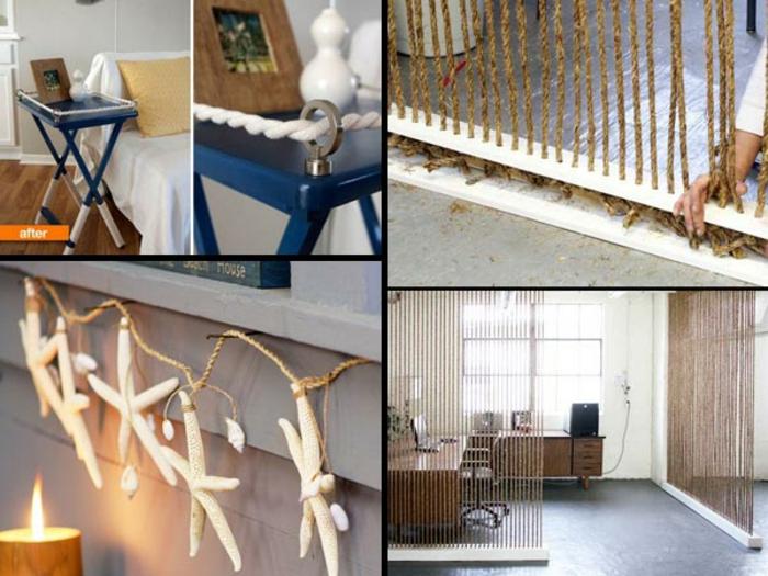 dekoideen einrichtungsbeispile seil dekoration DIY projekt