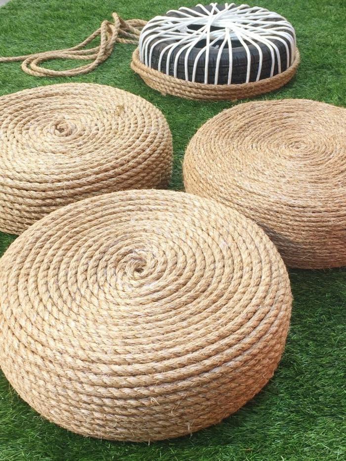 einrichtungsbeispiele dekoideen seil dekoration teppich