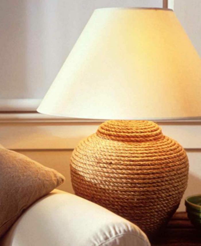 einrichtungsbeispiele dekoideen seil dekoration tischlmpe