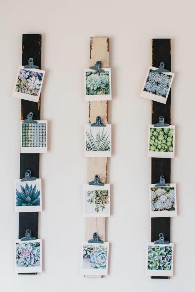 einfache Bastelideen Fotowand selber machen Pflanzen Bilder