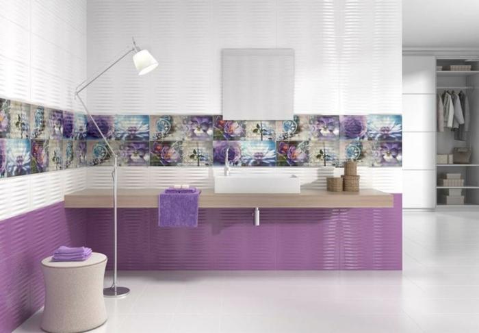 innendesign einrichtungsbeispiele wandgestaltung lila