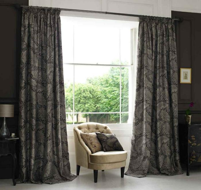 einrichtungsideen gardinen wonzimmer elegantes muster