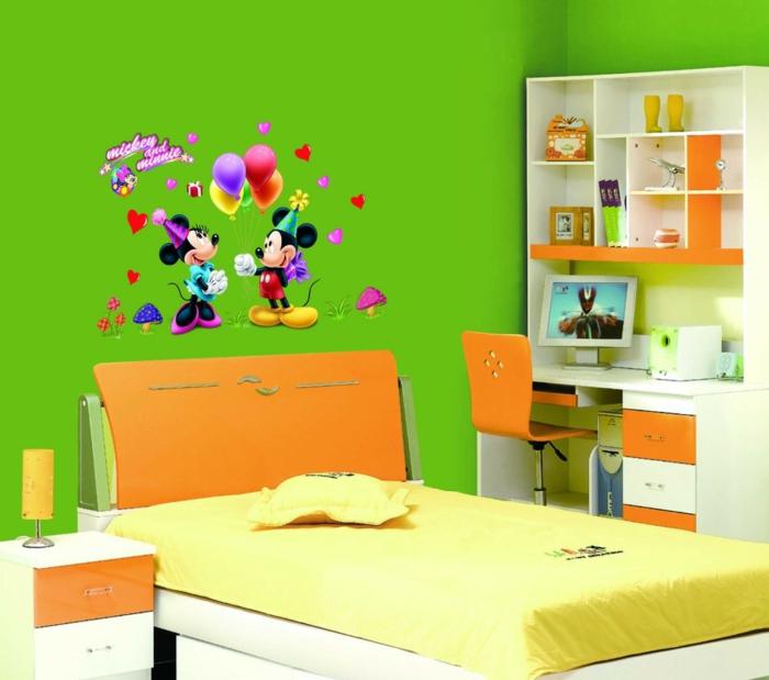 einrichtungsideen kinderzimmer grüne wände orange akzente