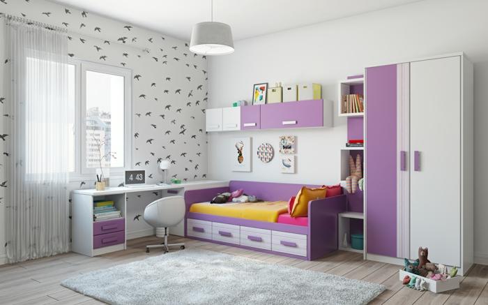 einrichtungsideen kinderzimmer lila akzente akzentwand helle wände